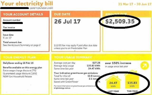 A South Grafton pensioner received an almighty shock when her quarterly electricity bill issued on 6th July, 2017 amounted to $2,509.35.