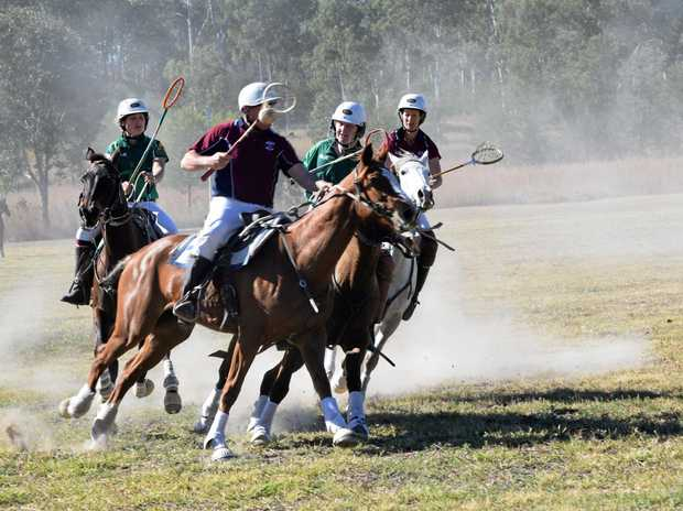 Polocrosse players in action at the Eidsvold showgrounds.