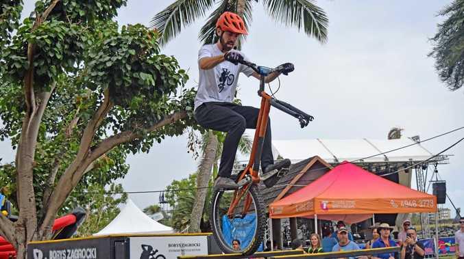 Polish bike stunt rider and coach Borys Zagrocki performed three stunt shows.