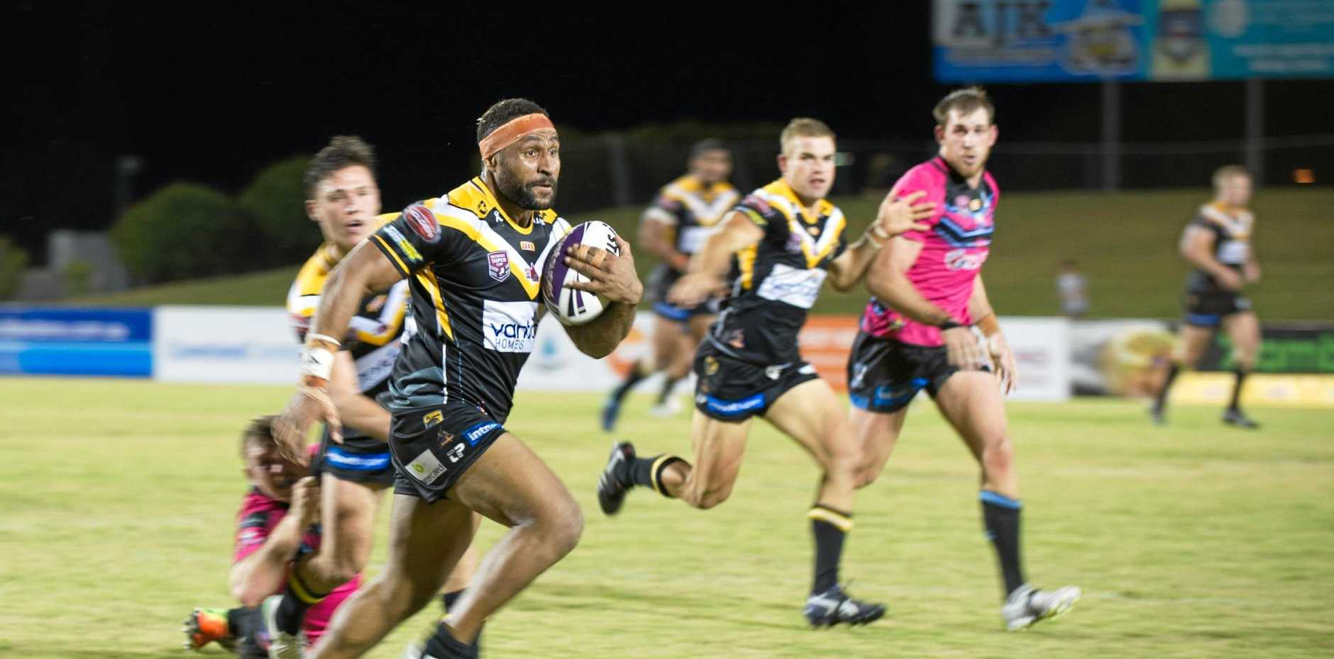 QUICK RUN: Sunshine Coast Falcons player Justin Olam in action during the clash against the Mackay Cutters on Saturday, August 5.