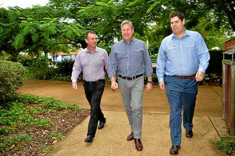 LNP Pre-selection winners Brent Mickelberg (right) and  Marty Hunt (left) with LNP leader Tim Nicholls.