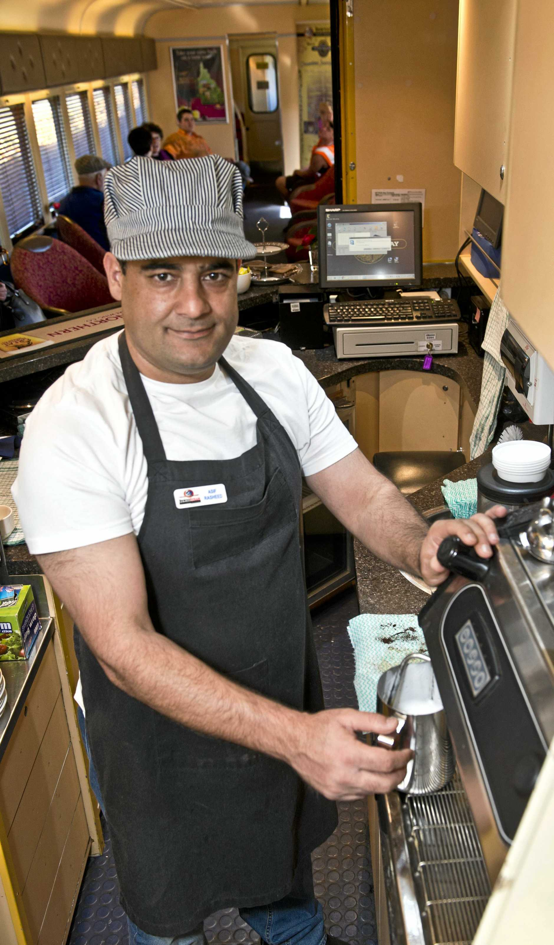 Asif Rasheed, barista at the Downs Steam open day. Saturday, 5th Aug, 2017.