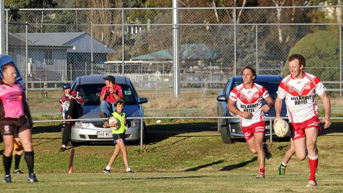 Bradley Green (right) celebrates a try for Killarney against Tenterfield.