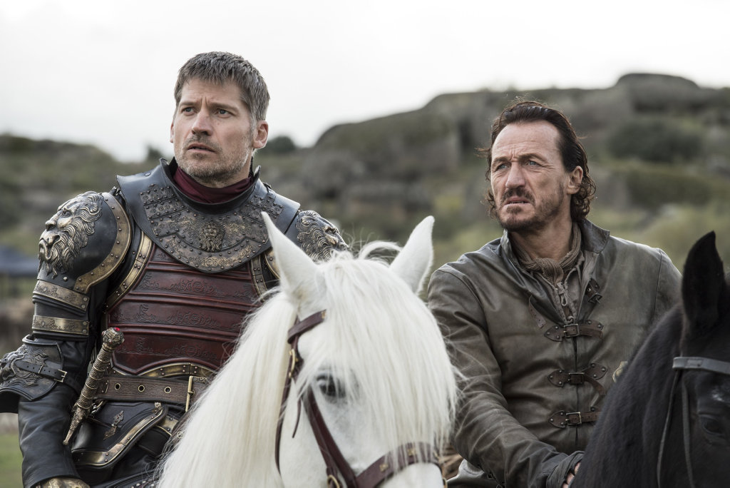 Nikolaj Coster-Waldau and Jerome Flynn in a scene from season 7 episode 4 of Game of Thrones.
