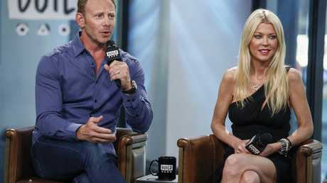 Cast members Ian Ziering, left, and Tara Reid participate in the BUILD Speaker Series to discuss Sharknado 5: Global Swarming at AOL Studios in New York.
