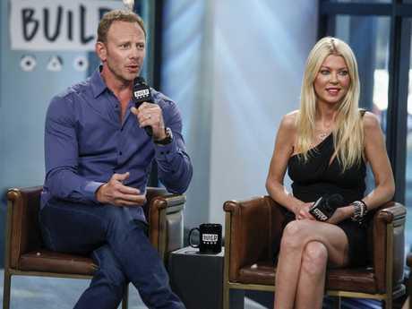 Cast members Ian Ziering, left, and Tara Reid participate in the BUILD Speaker Series to discuss Sharknado 5: Global Swarming at AOL Studios in New York.