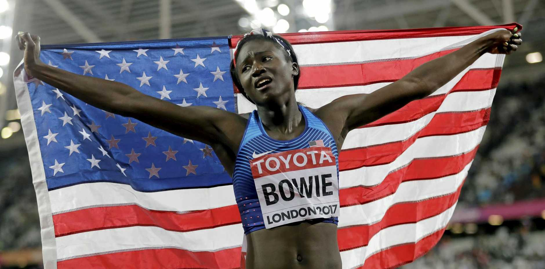 United States' Tori Bowie celebrates after winning the gold medal