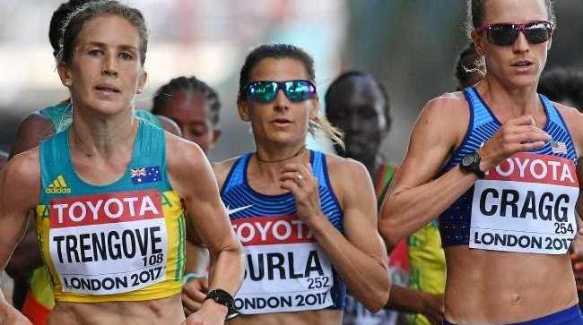 Jess Trengove finished ninth in the world championship marathon.