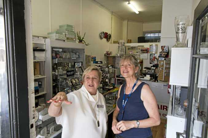 Toowoomba Chamber of Commerce president Joy Mingay (left) talks to small business owner Toula Elliott.