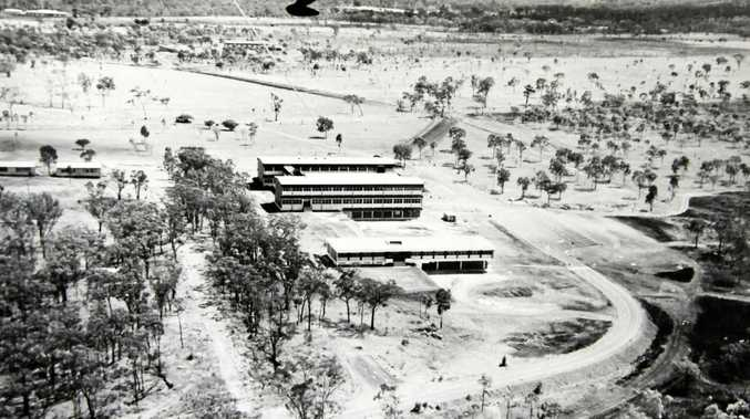 Historic photo dating back to the early days of CQ University which began construction in 1967. It was the first campus buildings at the Parkhurst site of the then Queensland Institute of Technology (Capricornia). Photo appears to have been taken in 1969.