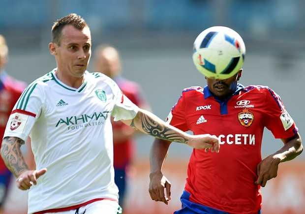Luke Wilkshire in action for FC Terek Grozny in Russia.