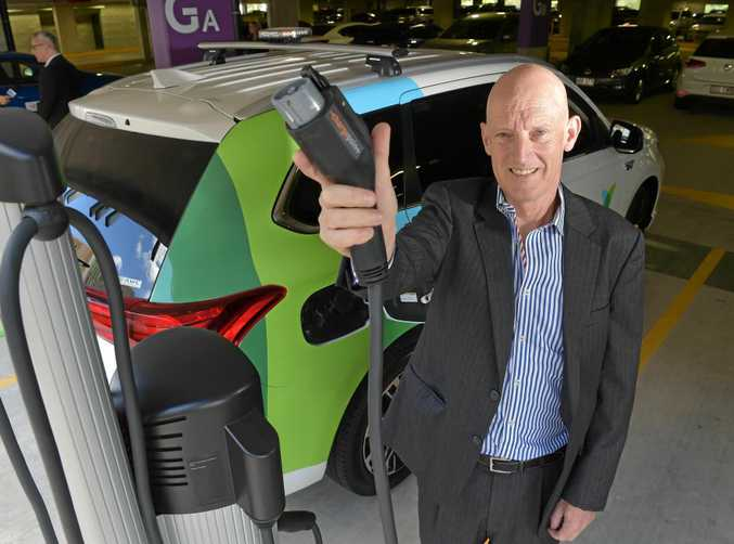 New charge points for electric cars are being unveiled at the Sunshine Coast University Hospital.Visionstream CEO Richard Kelleway ready to plug in.