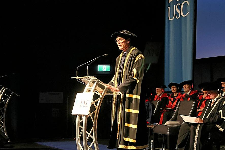 OFFICIAL: USC Chancellor Sir Angus Houston addresses the audience after he was formally appointed.