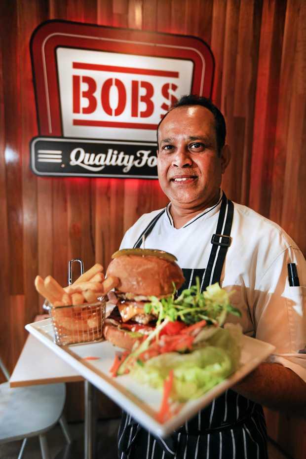 BOB-TASTIC: Head chef Nishantha Silva prepares impressive burgers.