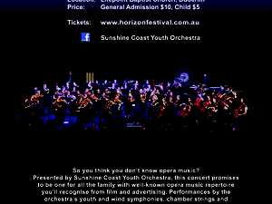 """Sunshine Coast Youth Orchestra's """"The Secret Life of Opera Music"""".  An Horizon Festival event presenting well-known opera music repertoire for all the family!"""