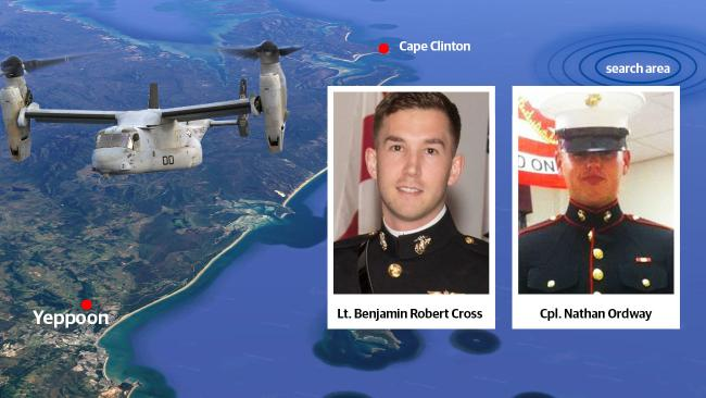Lt. Benjamin Robert Cross and Cpl Nathan Ordway are two of the three missing marines to be identified.