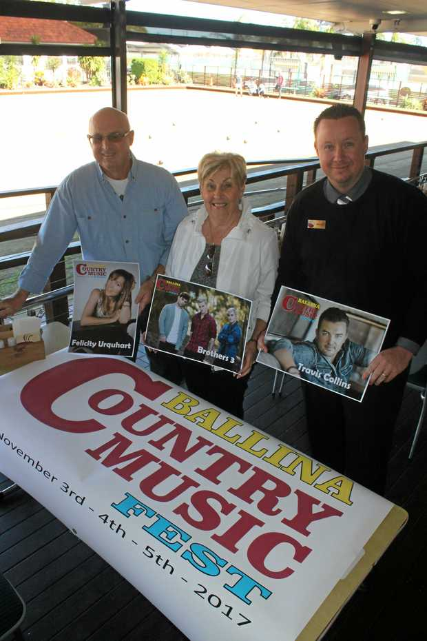 BUY ONLINE: For the first time, tickets to the two ticketed events at Ballina Country Music Festival are available online. Pictured are festival organisers (from left) Garry Lavercombe and Carol Stacey with Cherry Street Sports Club's operations manager Brad Benson.