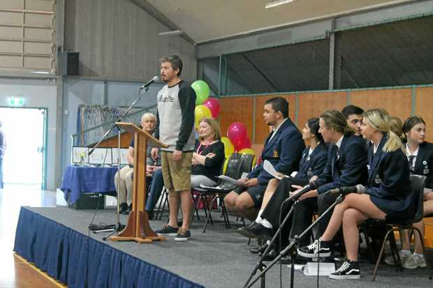 BRAVERY: Ballina shark attack survivor Mat Lee last week spoke to Ballina Coast High School students at the induction of the school's Student Representative Council.
