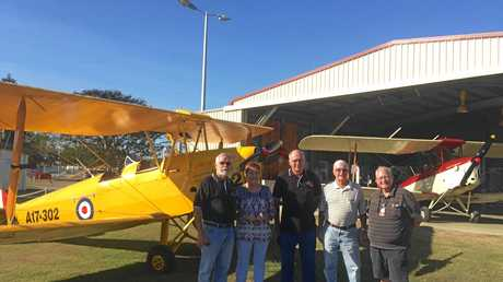 AERO CLUB: Club president and pilot Greg Christensen, promotions officer carol ward, vice president Ian Thomason, committee member Barry dean and duty pilot Max clews.