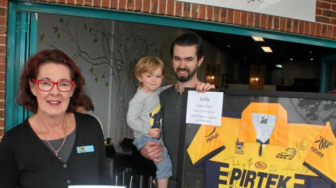 SUPPORT: Liz Hill from the Veterans Advocacy Centre in Alstonville is pictured with Brendan Hill, and his son.