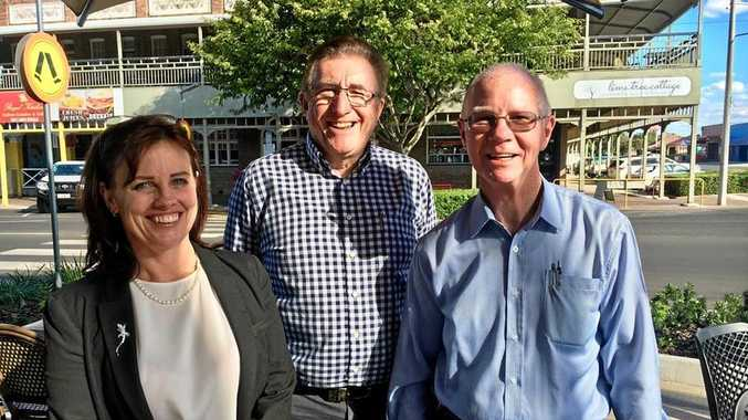 WATER WORKS: Murray-Darling Association CEO Emma Bradbury, Balonne Shire CEO Matthew Magin and Balonne Shire Mayor Richard Marsh after the meeting in Roma on Wednesday.