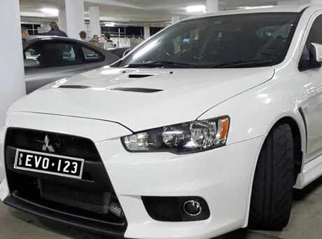 The 2011 Mitsubishi Lancer Evolution that was stolen at knife-point on the weekend.