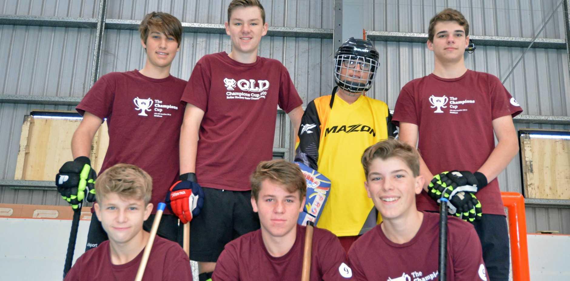 STATE REPS: Back from left, Max Hall, Josh Nyberg, Cody-Jon Gardner, Jay Burnett, Bailey Buckley, Kadin Hewitt and David Kirkpatrick have been slected to represent Queensland in roller-hockey.