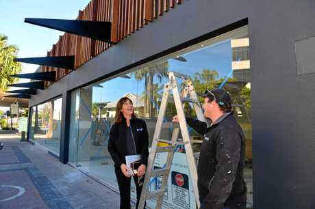 Mosaic Property Group interior design manager Margie Sullivan and site supervisor Matt Freney oversee construction work at the company's new Maroochydore office.