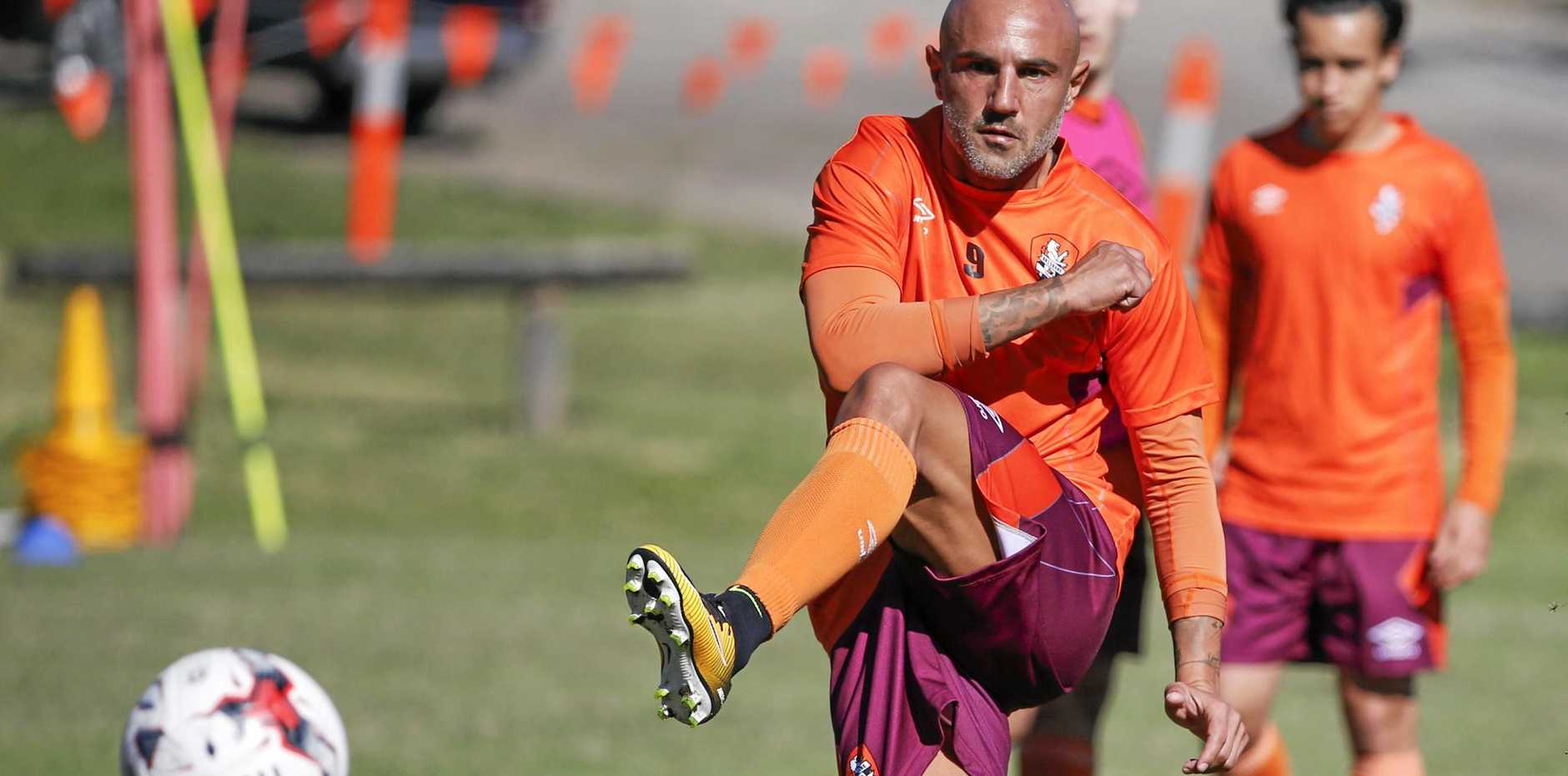 New Brisbane Roar recruit Massimo Maccarone in action during a training session at Ballymore Stadium.