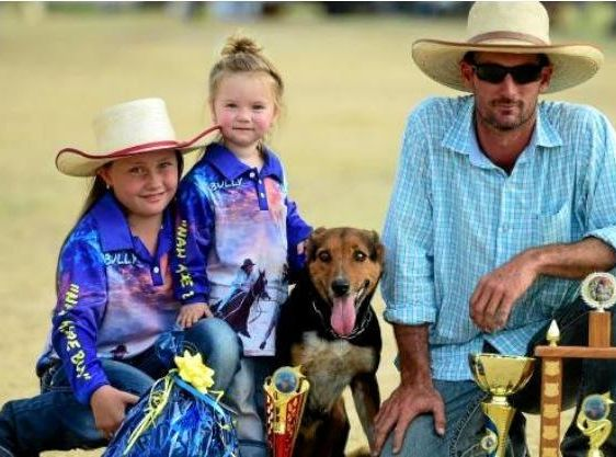 WINNING TEAM: Willi Bethel with dog Daisy, a border collie cross, Madison Brown (daughter in hat) and Dakota Moxham (niece).