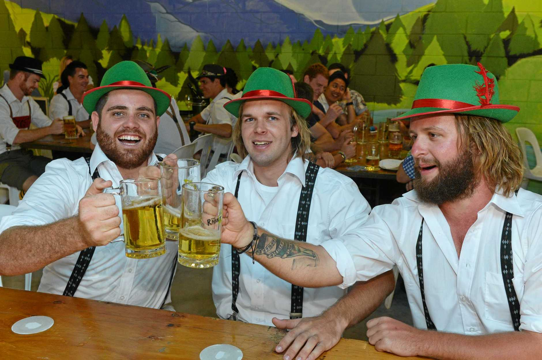 Matt Vella, Michael Rhodes and Chris Nichols adopted Gerrman accents and were happy to catch up with friends at Oktoberfest celebrations at Mackay Grande Suites in 2013.