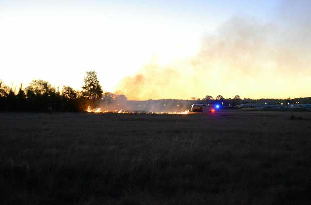 A small grass fire was burning on the southern side of Kingaroy today at about 5.45pm