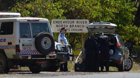 A crime scene remains in place at Leggett's Crossing on Endeavour River Rd after the body of a woman believed to be Donna Steele, 42, was found on Sunday. Picture: Sarah Martin