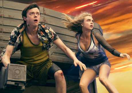 Dane DeHaan and Cara Delevingne in a scene from the movie Valerian and the City of a Thousand Planets.