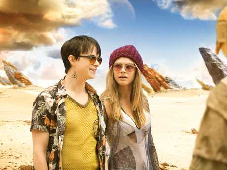 Dane DeHaan and Cara Delevingne in a scene from Valerian and the City of a Thousand Planets.