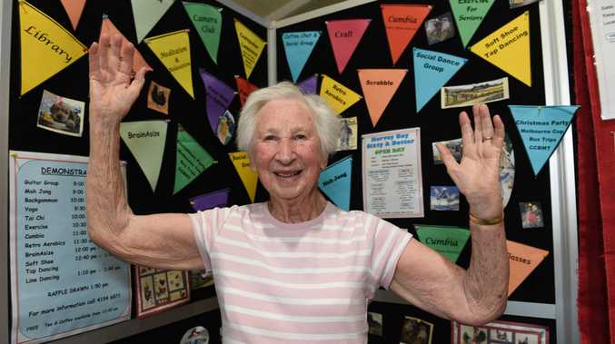 ALL WELCOME: Dorothy Norman promotes activities on offer at Sixty and Better while staffing the stall at the Over 50s Lifestlye Expo on Friday.