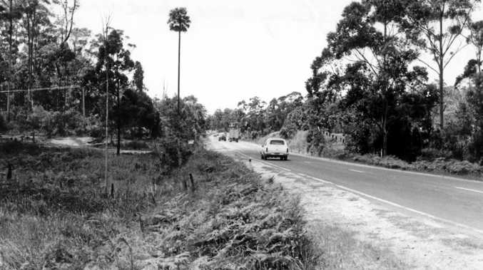 The old Bruce Hwy was a dangerous, two-lane stretch of road. This 1978 photo was taken at Tanawha.