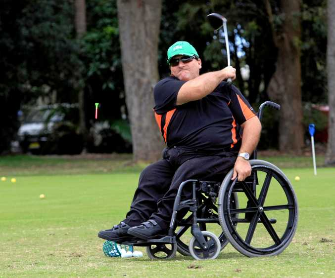 STILL SWINGING: Dave Sawtell in action at Chinderah Golf Course.