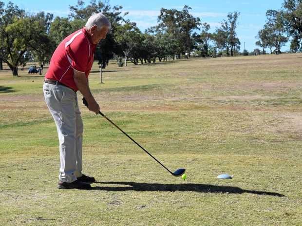Graham Carlyon teeing off at the Mundubbera golf course.