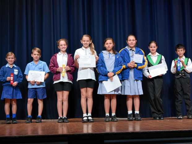 WINNERS: (from left) Dalby State School received second place, Chinchilla Christian College received a Highly Commended, Chinchilla State School received third place, and Dalby South State School received first place in the beginner bands section at the Dalby Eisteddfod on Wednesday morning.