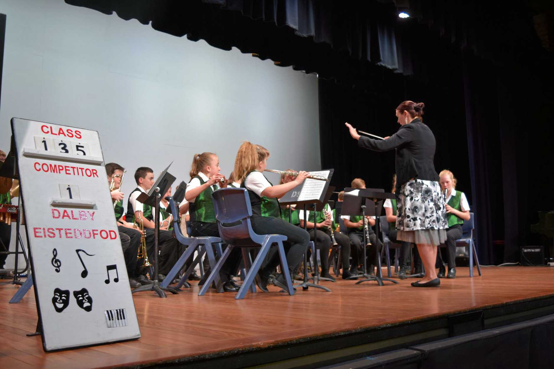 MAKING MUSIC: Crows Nest State School Concert Band perform Wings of the Orient and Jamboree at the Dalby Eisteddfod.