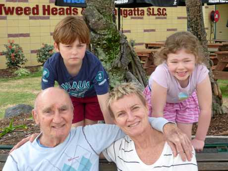 BEST BET: Eddie Birchley with two of his grandchildren and daughter, Leigh.
