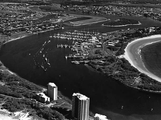 The sweeping coastline at Mooloolaba before its development boom.