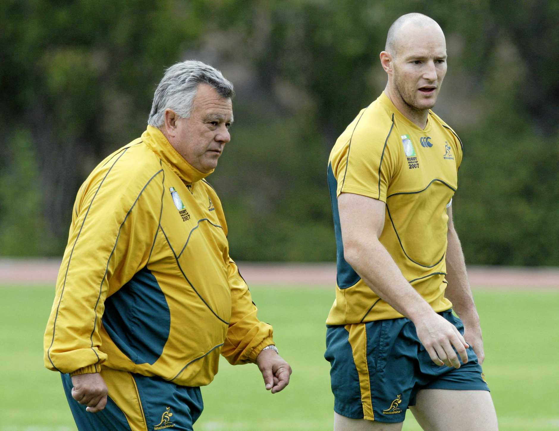 FLASHBACK: Australian team coach John Connolly left, walks with captain Stirling Mortlock during a team training session at Stade Luminy in Marseille, southern France, Friday Oct 5, 2007.