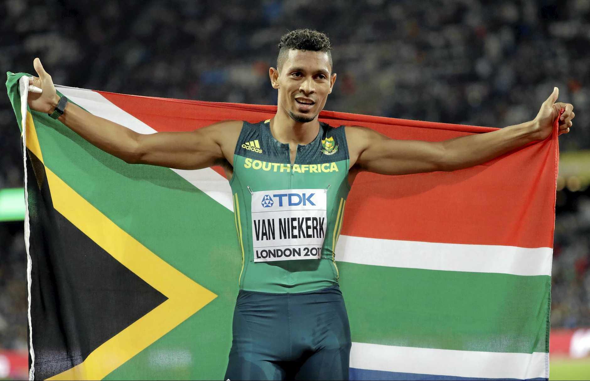 Van Niekerk celebrates winning the gold