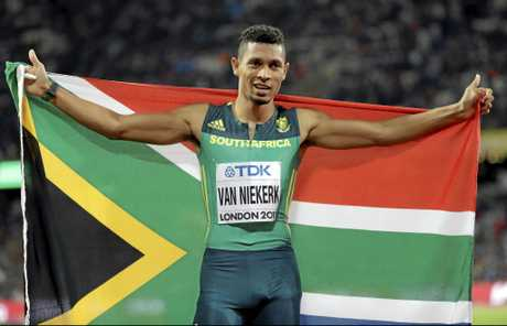 Van Niekerk celebrates winning the gold