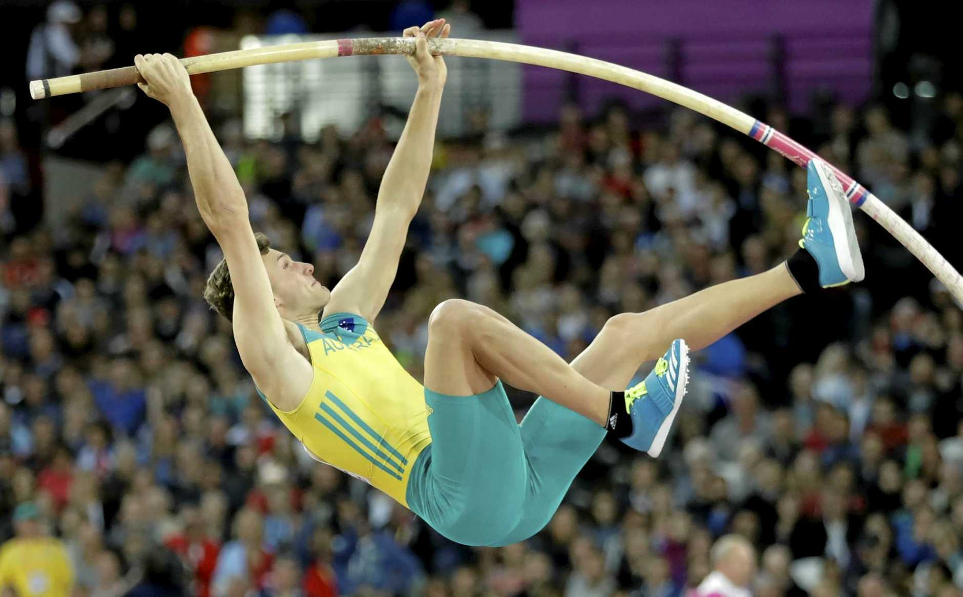 Australia's Kurtis Marschall makes an attempt in the men's pole vault final at  the World Athletics Championships in London