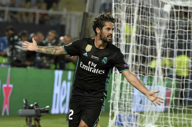 Isco of Real Madrid celebrates the second goal during the UEFA Super Cup final.