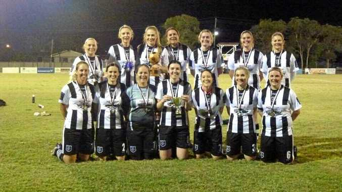 WINNERS: Bingera won the division 1 knockout final. Shaunna Parsons (back left), Katrina White, Kate Ennett, Mel Gaston, Natika Breuer, Maddison Kimber, Debbie Caldwell, Sian McDowell (front left), Shannon Kitching, Michel Jenner, Emma Haack, Mel Sergiacomi, Tanika Sergiacomi and Madelyn McCracken.