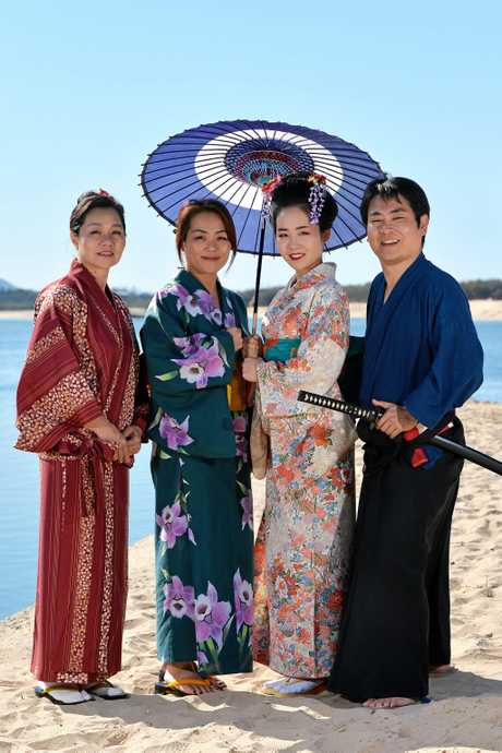IN traditional costume preparing for the second annual Sunshine Coast Japan Festival are the three generation Yamamoto family Kazu, Ai, Sala with Tomo Akutsu.